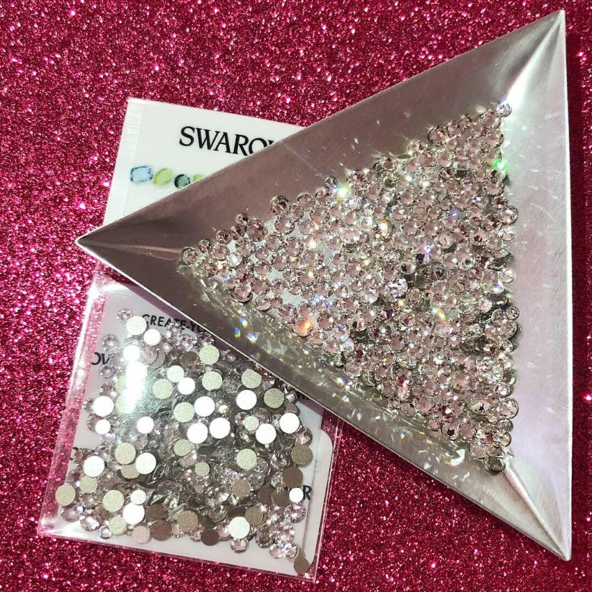 Mixed Pack of 300pc Swarovski Flatback Crystals, Non-Hotfix, Mix Of Sizes SS7/SS9/SS12. Crystal